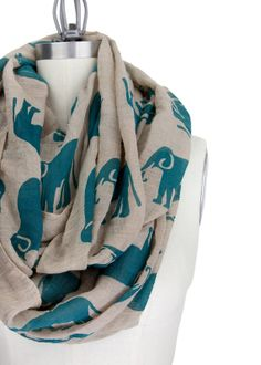 ELEPHANT INFINITY SCARF green tan infinity scarf by gertiebaxter