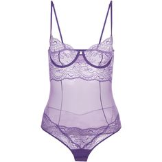 La Perla Romance Underwired Bodysuit in Leavers Lace ($370) ❤ liked on Polyvore featuring intimates, shapewear and violet
