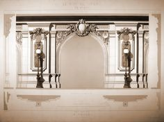 Design detail of the vestibule of Charles Garnier's Opera House, Paris
