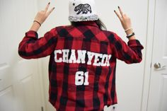 athletic shirt/flannel diy (Park Chanyeol, 61, EXO)