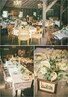 vintage wedding ideas - barn wedding - mixed chairs - ivory flowers