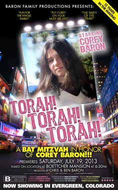 Bat Mitzvah poster invitation. #BatMitzvah  Bar Mitzvah Custom Design