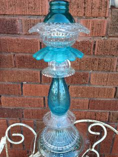 Turquoise Glass Garden Totem With Solar Light