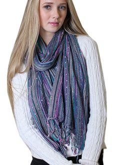 Anika Dali Women's Festival Bliss Multicolor Shimmer Sparkle Scarf with Tassels -- Awesome product. Click the image : Best Travel accessories for women