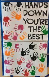 """Many Teacher Appreciation Door Ideas using """"Hands"""" or """"Helping me Grow"""" Theme.  These ideas were done by a number of different parents."""