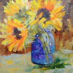 Sue ChurchGrant Daily Painting: Sunflower Study #1