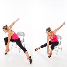 Cardio Workouts These sneaky seated moves firm and burn your body much more than you'd think. - Is this the most deceiving workout ever? These toning exercises will give you a full-body strength and cardio workout while sitting in a chair. Full Body Workouts, Full Body Workout Routine, Toning Workouts, At Home Workouts, Body Fitness, Fitness Diet, Health Fitness, Physical Fitness, Fitness Motivation