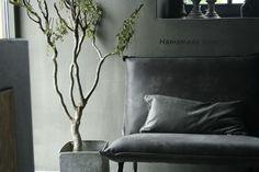 Vintage lederen fauteuil grijs Hamsmade