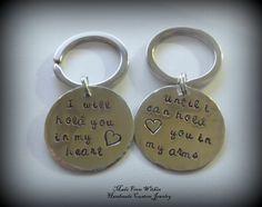 Long Distance Relationship Key Chains- Deployment- Love Phrase. $24.00, via Etsy.