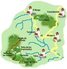 Mapa de ruta Andalucia, Maps, Hiking Trails, Towers