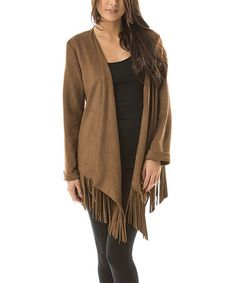 Another great find on #zulily! Camel Faux Suede Fringe Jacket - Women #zulilyfinds