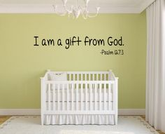 I am a gift from God - Baby Nursery KJV Scripture Vinyl Lettering Wall Words Decal Bible Verse Psalm 127:3