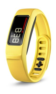 Garmin vívofit 2 is an activity tracker that shows steps, calories, distance and monitors sleep. It comes in many colors including canary yellow.