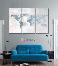 Bright hip colors world map wall canvas gallery wrap adhesive wall blown away world map wall canvas gallery wrap adhesive wall color blue gray by wallmac on gumiabroncs Choice Image