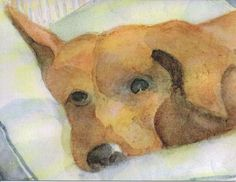 5 Blank Note Cards, Hound Dog Watercolor