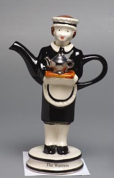 Tony Carter's The Waitress novelty teapot .. woman in maid costume serving teapot on a tea tray, ceramic, UK