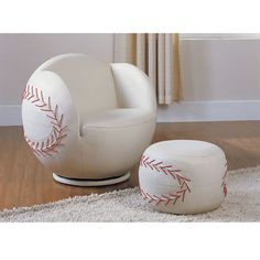 Swivel chair and ottoman create a fun environment for young sports fans.