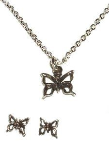 """Sterling Silver Children's Butterfly Charm Necklace and Earring Set for Girls in Gift Box, 14"""" Italian Box Chain Tiny Treasures. $32.00. Save 47%!"""