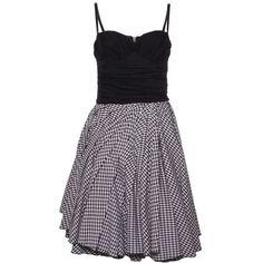 D Black/White Gingham Short Dress