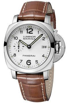 The first watch from Officine Panerai to introduce the original combination of the Luminor 1950 case 42 mm in diameter and a white dial Officine Panerai the Luminor Marina 1950 3 Days Automatic - 42mm (PR/Pics http://watchmobile7.com/data/News/2013/07/130719-officine_panerai-LUMINOR_MARINA_1950_3_DAYS_AUTOMATIC_42mm.html) (2/3) #watches @Officine Fotografiche Roma Fotografiche Roma Panerai