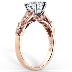 "Kirk Kara ""Dahlia"" Diamond Leaf Engagement Ring Featuring 0.11 Carats Round White Diamonds in 18kt Rose Gold. Style K156RR"