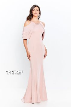 This Montage by Mon Cheri 120906 english rose evening dress features a form-fitting silhouette with a beaded scoop neckline and tiered cold-shoulder sleeves. Front and back princess seaming contours this stretch crepe formal gown, ending in a sweep train. Evening Gowns With Sleeves, Formal Dresses With Sleeves, Long Sleeve Evening Dresses, Mob Dresses, Types Of Dresses, Mother Of The Bride Fashion, Mother Of The Bride Dresses Long, Grooms Mother Dresses, Bride Groom Dress