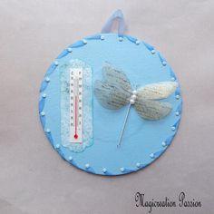 thermomètre bleu libellule 3D, décoration d 'intérieur, sur disque vinyle 45 tours recyclé, romantique, pièce unique, made in France