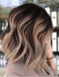 20 Balayage Ombre Short Haircuts , Who does not like balayage ombre short haircuts? Here are some ideas about it. Here are 20 Balayage Ombre Short Haircuts. Balayage hair is one of many. Carmel Blonde Hair Color, Ombre Hair Color, Blonde Highlights On Dark Hair Short, Dark Brown To Blonde Balayage, Lob Ombre, Asian Ombre Hair, Ombre On Dark Hair, Medium Brown Hair With Highlights, Ombre Bob Hair