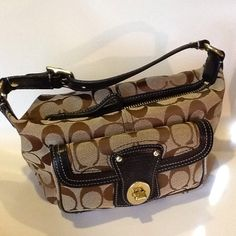 Hold!Coach Small Pouch Bag Coach Classic C's Fabric with Legacy Strip Interior. Great Condition. Very Clean. Fun Little Bag! Coach Bags Mini Bags