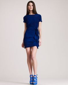 love the blue and SHOES -- Knotty Silk Minidress by Gryphon New York at Bergdorf Goodman.