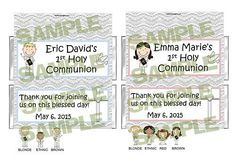 PERSONALIZED Catholic First 1st Holy Communion candy bar wrappers FREE FOILS
