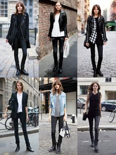 Cute Fall outfit ideas involving black pants and some leather!