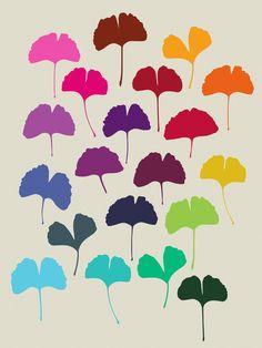 Ginkgo_Multicolor - Art Print by Garima Dhawan