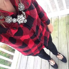 Red buffalo plaid shirt outfit