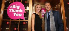 Paula Radcliffe and Steve Cram in the golden phone booth