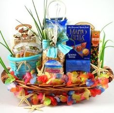 Gift Basket Village The Big Kahuna Tropical Gift Basket for a Taste of the Tropics : Gourmet Snacks And Hors Doeuvres Gifts : Grocery & Gourmet Food Vacation Gift Basket, Beach Gift Basket, Homemade Gift Baskets, Homemade Gifts, Diy Gifts, Themed Gift Baskets, Raffle Baskets, Theme Baskets, Almond Toffee