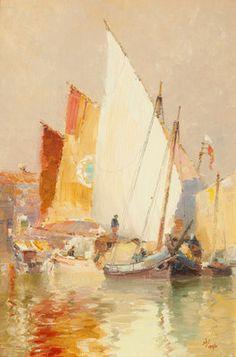 Fishing boats, Venice, by John Miller Nicholson