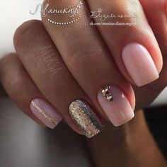 Nail art Christmas - the festive spirit on the nails. Over 70 creative ideas and tutorials - My Nails Pink Gold Nails, Pastel Pink Nails, Silver Nails, Nude Nails, Manicure And Pedicure, Pedicure Ideas, Gold Glitter, Orange Nail Designs, Gold Nail Designs