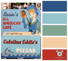 Disney Park Photography - Photo: Rosies All American Cafe Sign Colors