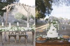 Look at these beautiful sweetheart and dessert tables! Love the white and neutral color palette with all that greenery.