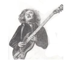 Angus Young of ACDC graphite drawing