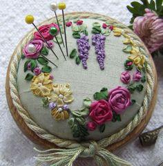 Flower reef pin cushion #ribbonEmbroidery