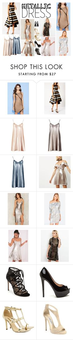 """""""metallic dress"""" by maiaytina on Polyvore featuring moda, Forever 21, Boohoo, River Island, Silence + Noise, New Look, Pour La Victoire, Dee Keller, Jimmy Choo y Yves Saint Laurent"""