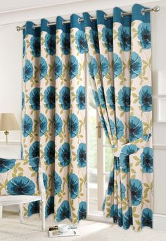 NEW ISLA READY MADE PAIR OF EYELET CURTAINS+TIE BACKS (Teal, 46X72): Amazon.co.uk: Kitchen & Home