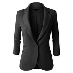 LE3NO Womens Fitted 3/4 Sleeve Blazer Jacket ❤ liked on Polyvore featuring outerwear, jackets, blazers, tops, fitted blazer, 3/4 sleeve jacket, fitted blazer jacket, one button jacket and three quarter sleeve blazer