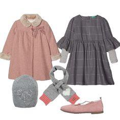 Cappotto Bon Ton e vestito a quadri  outfit Girl (6-11 years old)  9a3f3395ff37