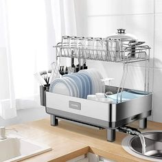 Ten of The Very Best Dish-Drying Racks You Can Buy Right Now Kitchen Dishes, Kitchen Items, Kitchen Storage, Storage Spaces, Kitchen Reno, Kitchen Gadgets, Storage Ideas, Dish Drainers, Large Tray