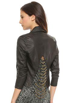 Black Long Sleeve Crop Pu Leather Jacket - Sheinside.com