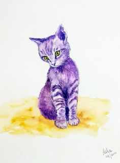 Original Handmade watercolor purple Kitten Painting, Cat Lover Affordable Gift, Wall Decor, Minimalist watercolour, Kids Art Tuxedo Cat Art by ArtbyAashaa on Etsy Lovers Art, Cat Lovers, Original Art, Original Paintings, Galaxy Cat, Bird Artwork, India Art, Affordable Art, Animal Paintings