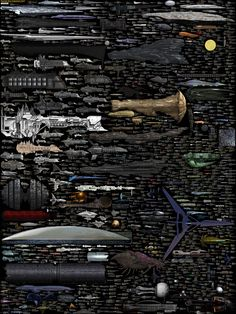 Science Fiction Spaceships Size Comparison by Dirk Loechel. Ships between a minimum of 100 meters and 24000 meters only. Unfortunately the TARDIS is both too large and too small for this chart.